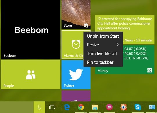 Windows 10 Unpin from Start