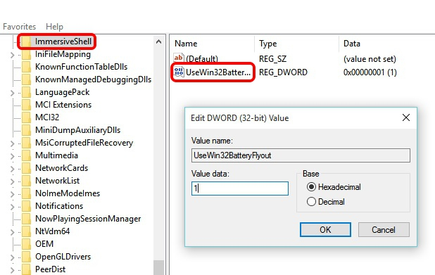 Windows 10 battery UI change registry editor