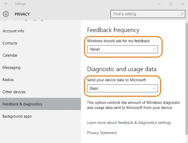 Windows 10 feedback settings