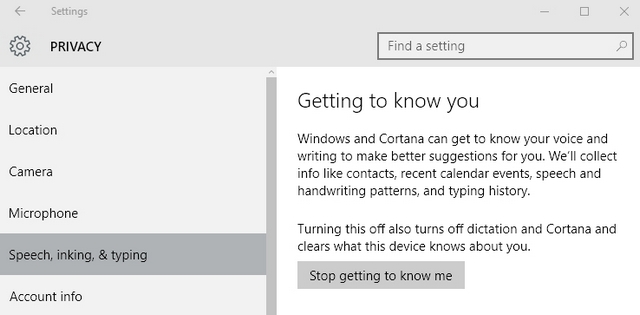 Windows 10 stop getting to know me