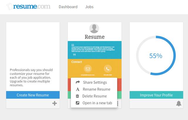 online resumes resumecom dashboard resumecom review