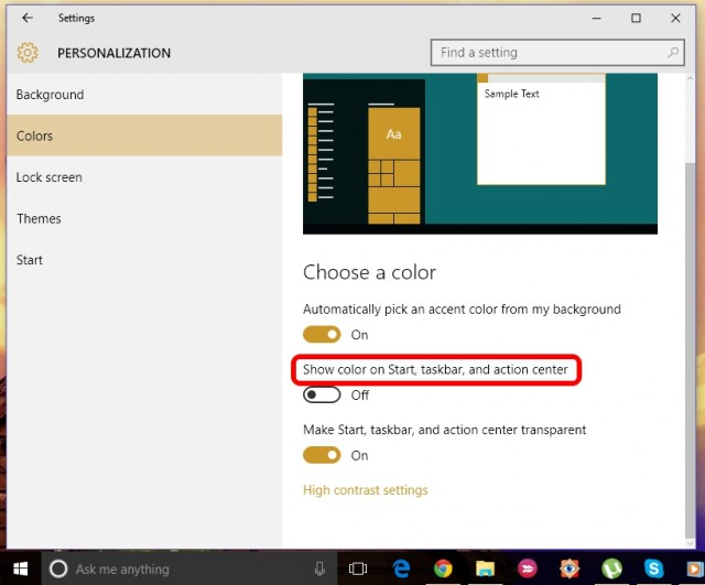 start menu taskbar color settings