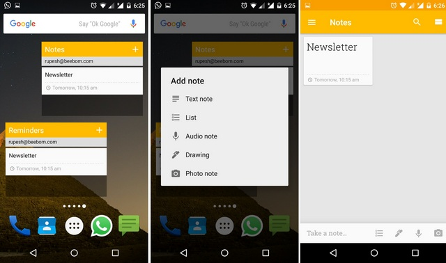 Google Keep Widget