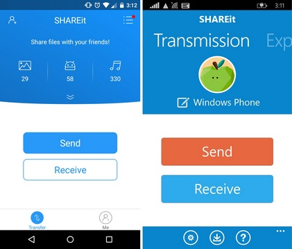 SHAREit Windows Android file transfer
