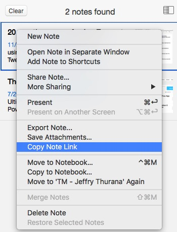 Evernote 3a - Copy Note Link