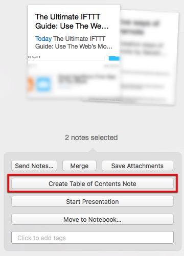 Evernote 3d - Table of Content