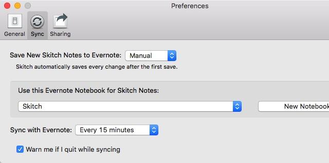 Evernote X 02 - Skitch Preferences