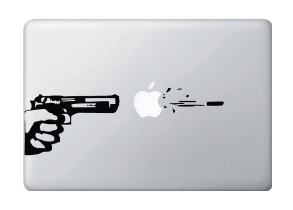 Gun and Bullet Macbook Decal Sticker