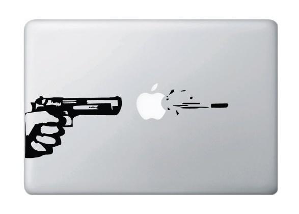 Gun and Bullet Macbook Decal Sticker