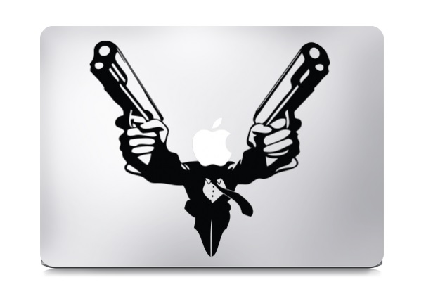 Guns Blazing Macbook Decal Sticker