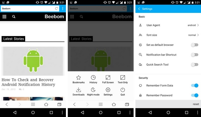 KK Browser Android data saving