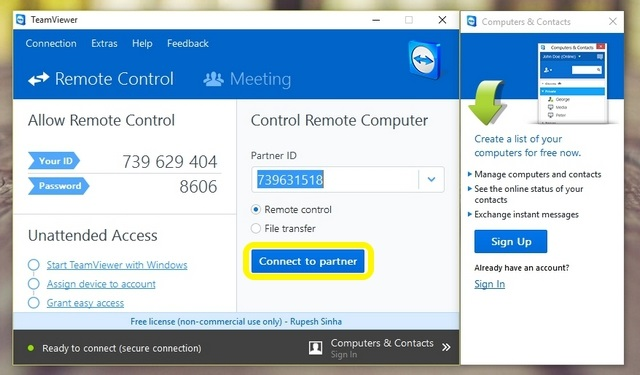 TeamViewer Mirror Android to PC