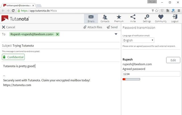 Tutanota email encryption