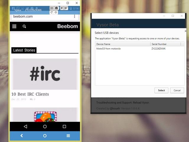 Vysor Chrome Android mirror app