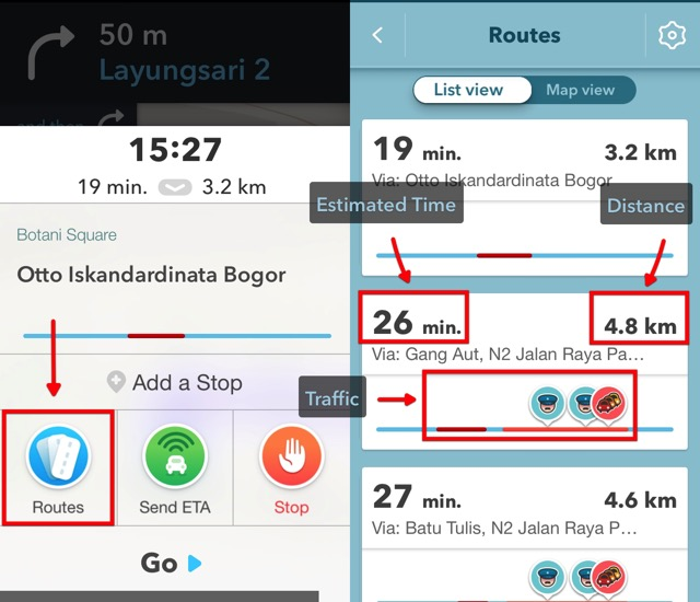 Waze -bb- 02b - Available Routes