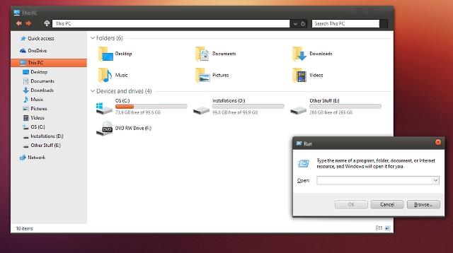 custom theme ubuntu in windows 10