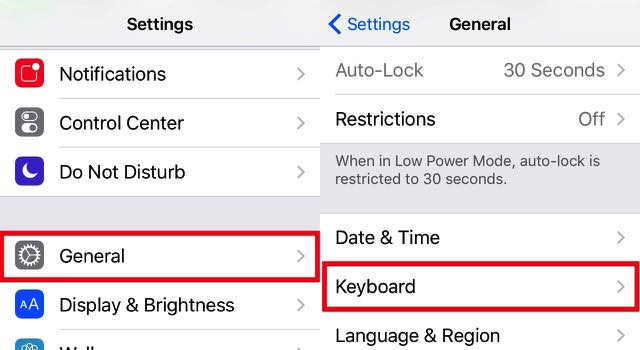 iOS Keyboards -bb- 02a - Settings General Keyboard