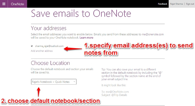 onenote email notes settings