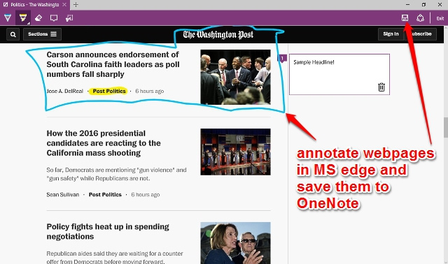onenote ms edge web note