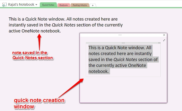 onenote quick note creation