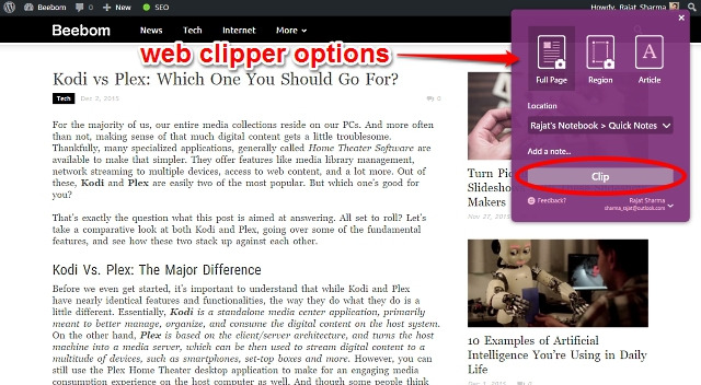 onenote web clipper