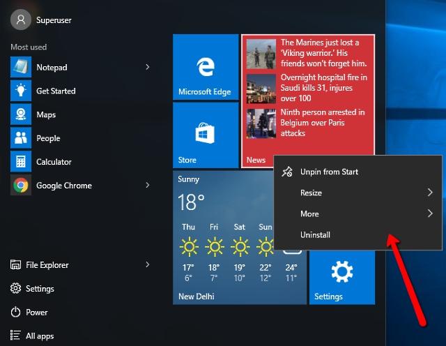 uninstall apps and programs via start menu