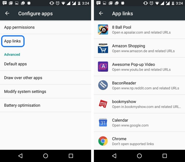 Android 6.0 Marshmallow app links