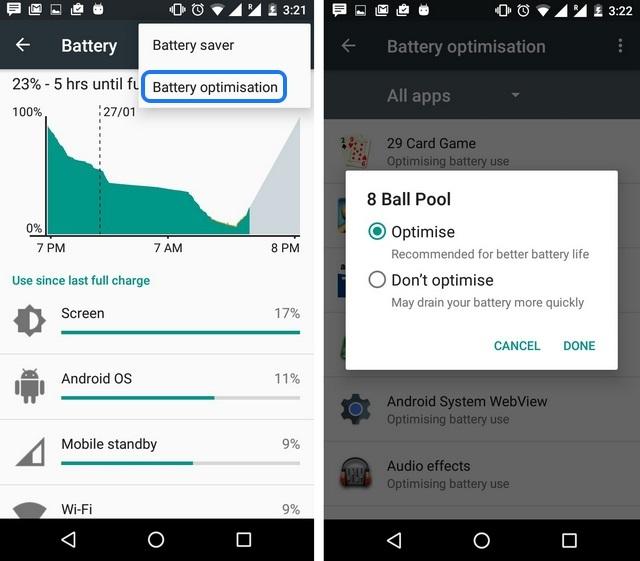 Android 6.0 Marshmallow doze battery