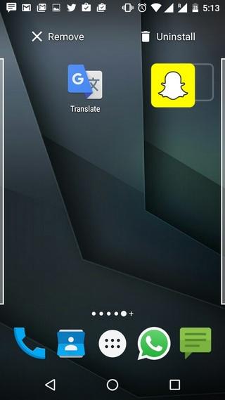 Android 6.0 Marshmallow uninstall homescreen