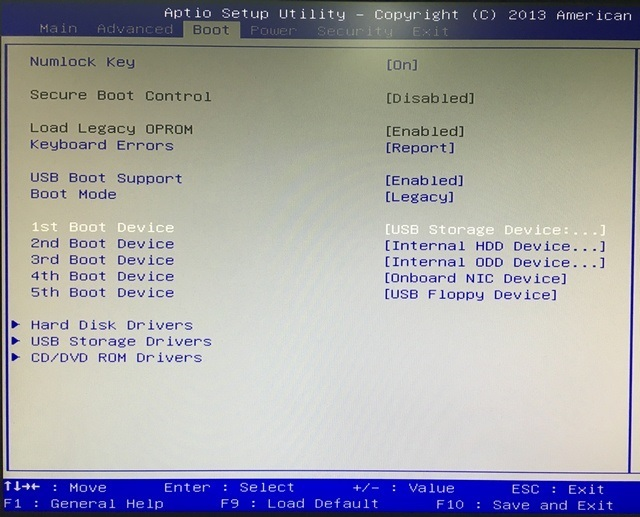 BIOS Boot options
