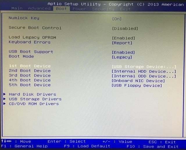 BIOS Boot options