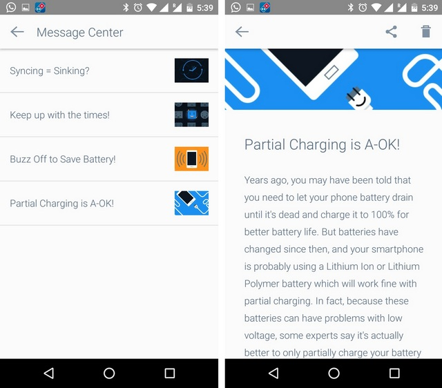 Battery Time Android app tips