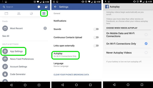 Facebook Android stop autoplay