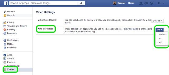 Facebook Web Video settings