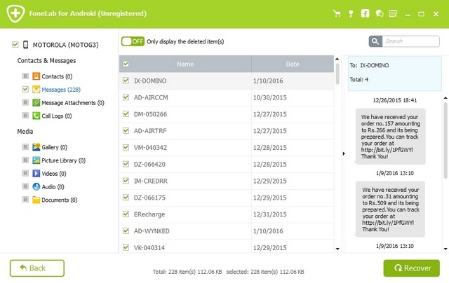 FoneLab Windows recover SMS 4