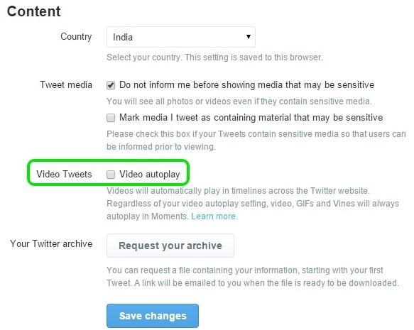 Twitter Video settings