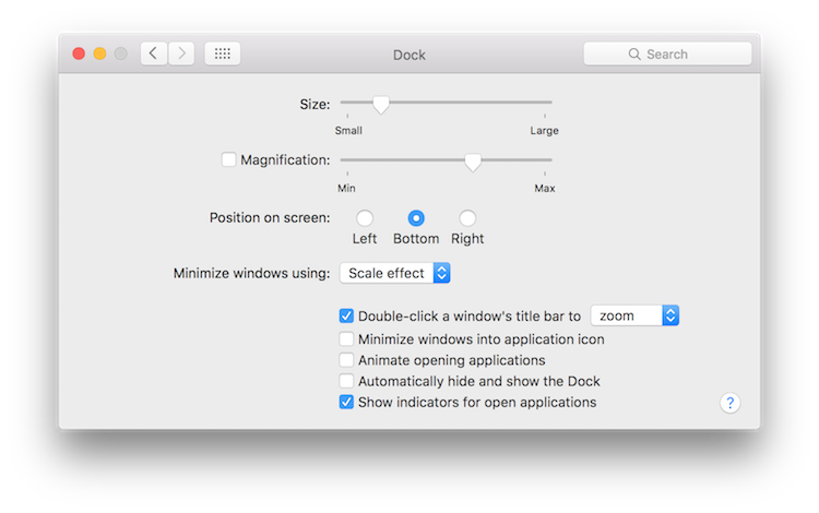 Visual Effects Dock