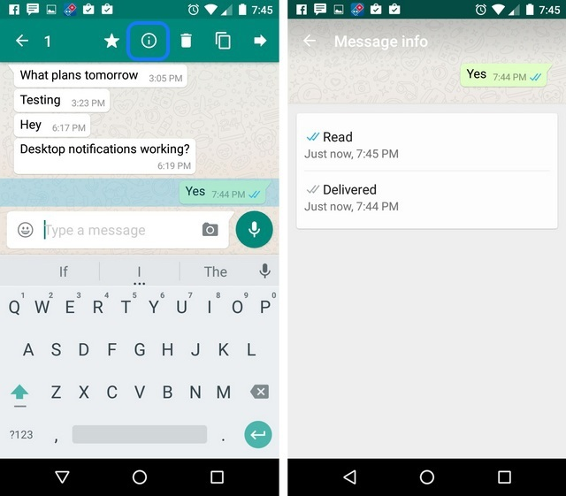 WhatsApp Tricks message read time