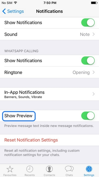 WhatsApp tricks disable preview iPhone