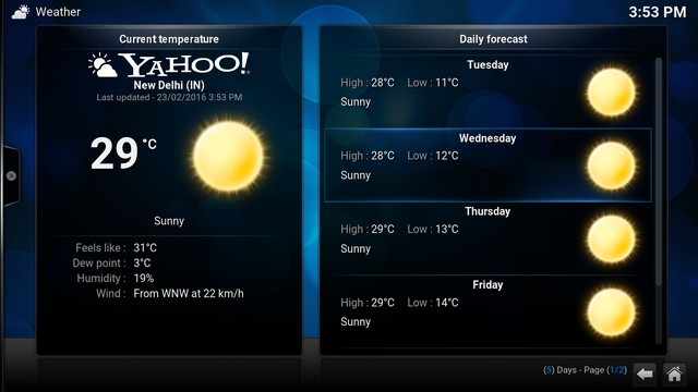 Kodi Yahoo Weather