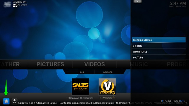 Kodi tips add to favourites