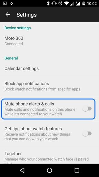 Moto 360 mute phone