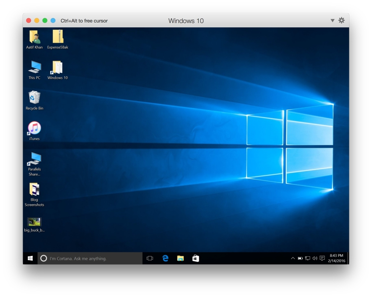 Parallels - Windows Running