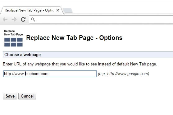 Replace new tab