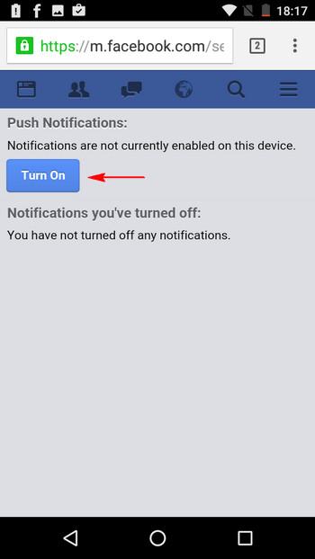 fb chrome push notifications