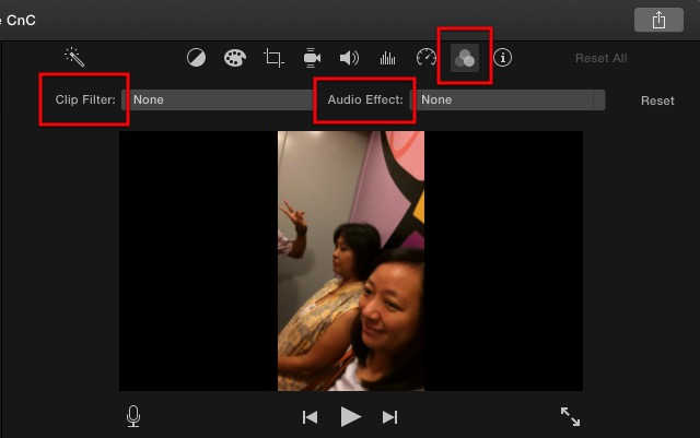 iMovie - clip filter and audio effects