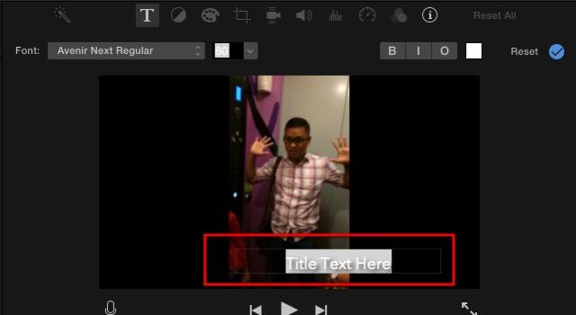 iMovie - editing title