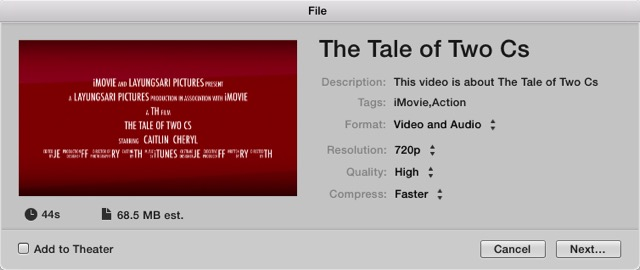iMovie - save as Movie