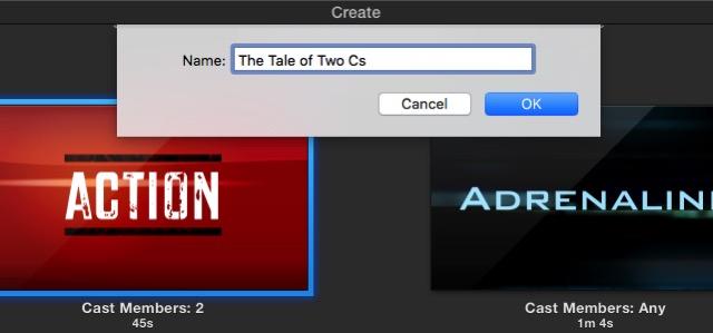 iMovie - set title