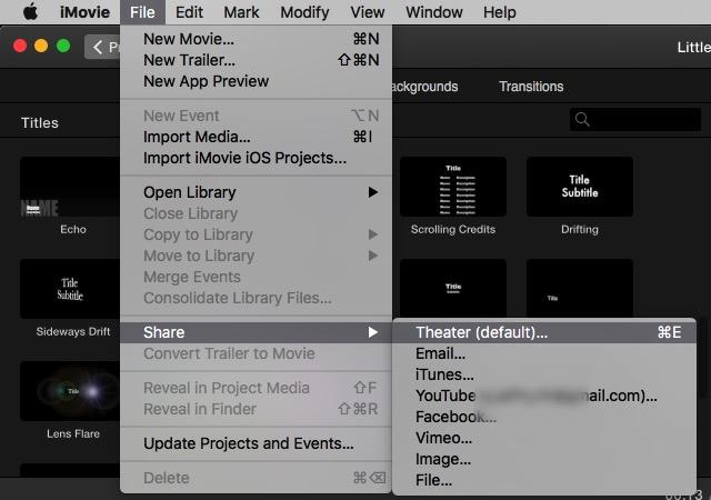 iMovie - share menu